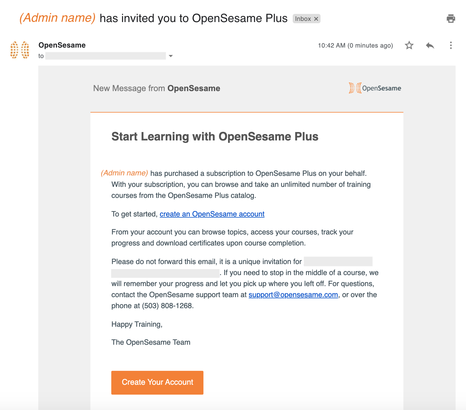 A screenshot of an invitation email to the OpenSesame Plus subscription catalog